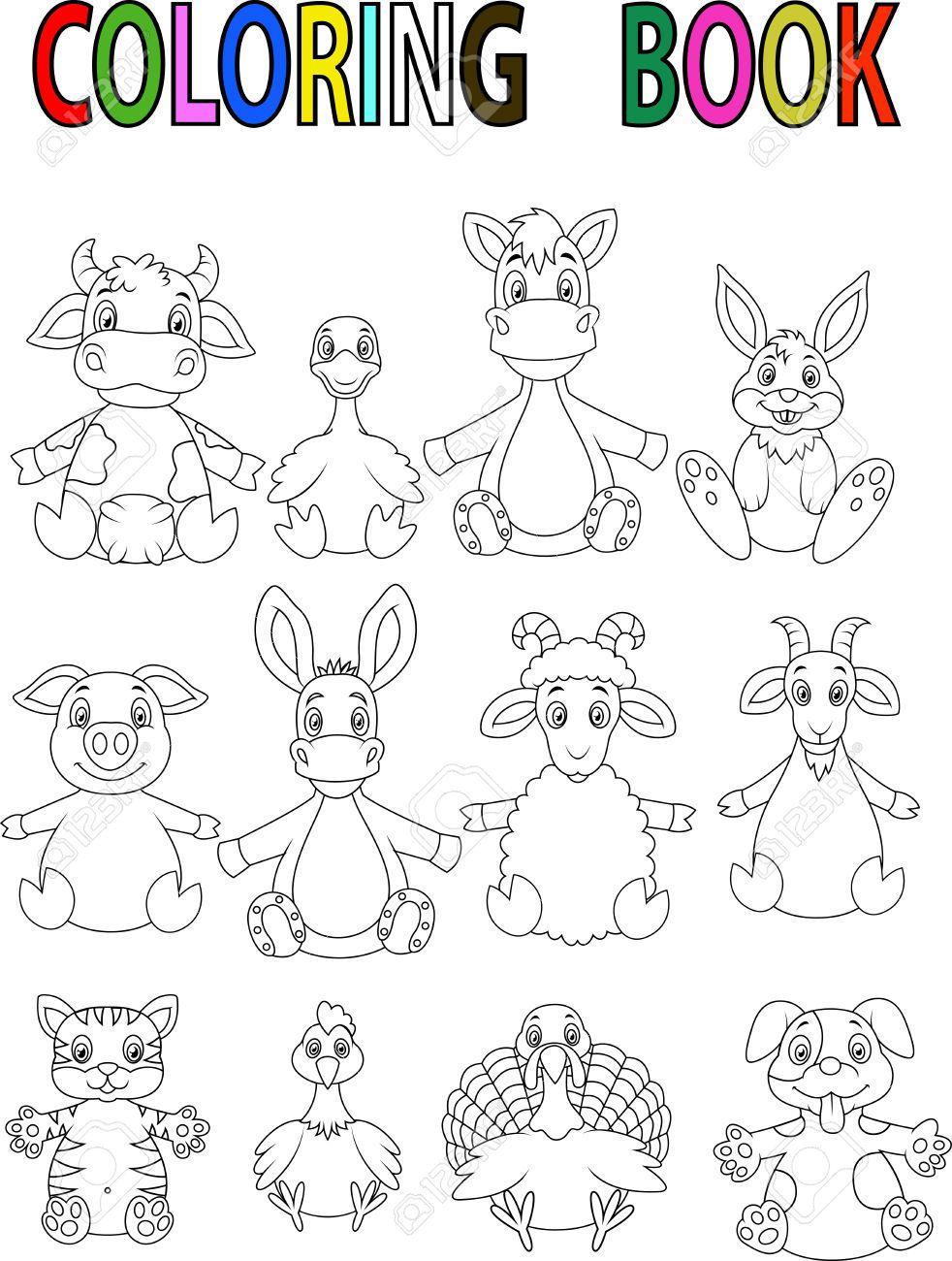 Animales de granja libro para colorear de dibujos animados | alma ...