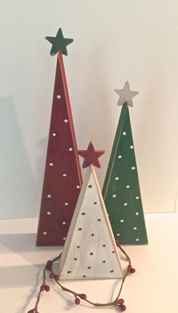 holz b ume weihnachtsb ume satz von 3 b ume holz. Black Bedroom Furniture Sets. Home Design Ideas
