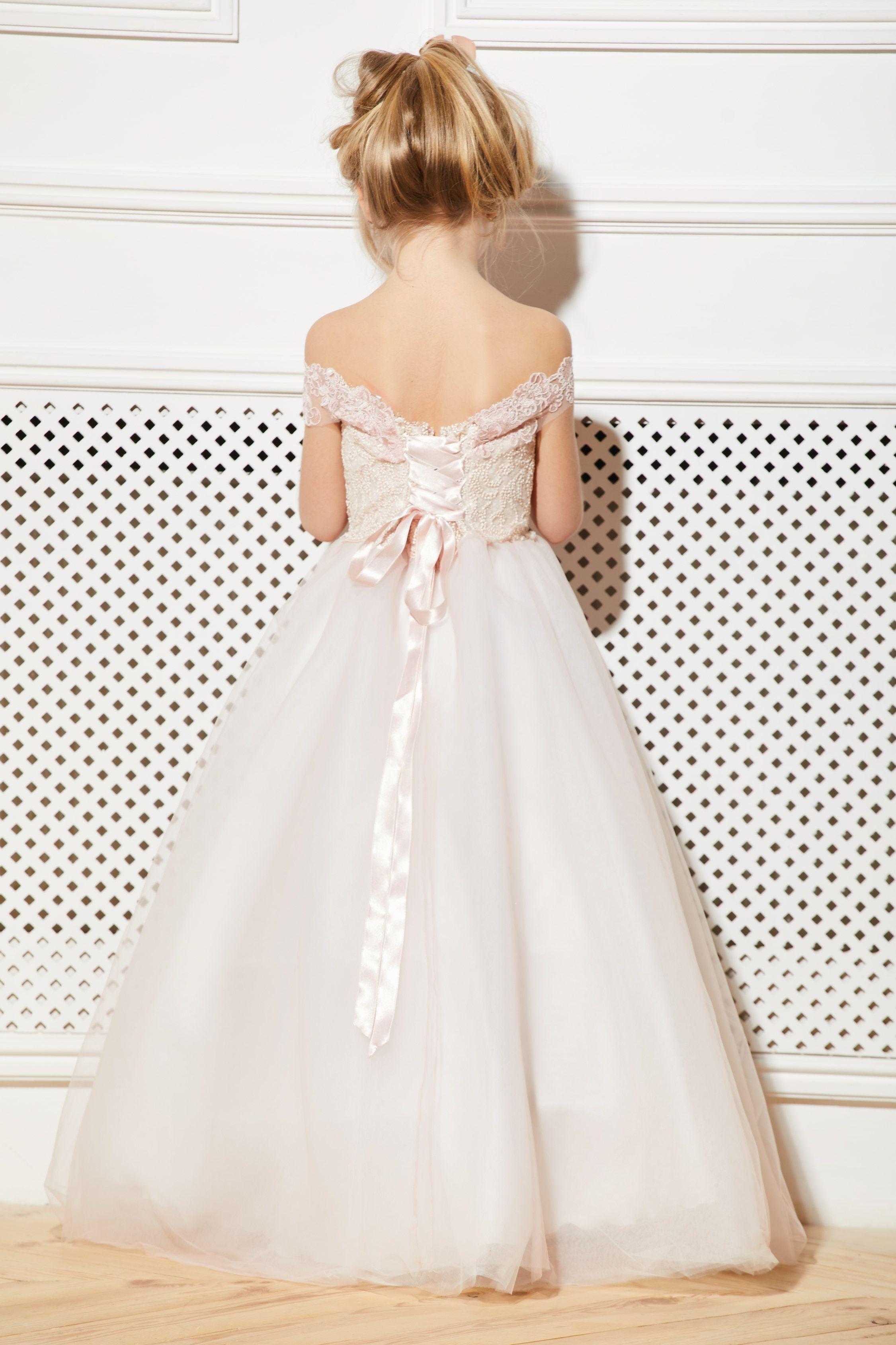 Blush flower girl dress cream tulle rose guipure tutu