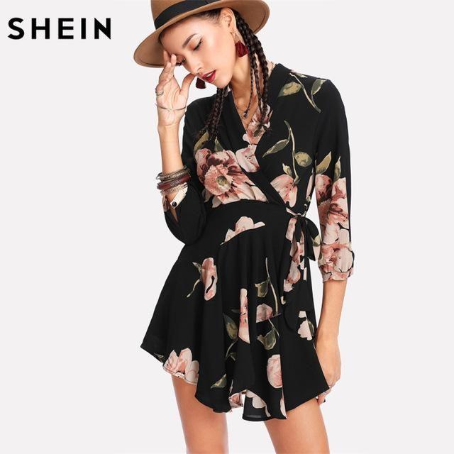 30f1f698da Women Casual Dress V Neck High Waist A Line Three Quarter Length Sleeve  Random Floral Wrap Dress
