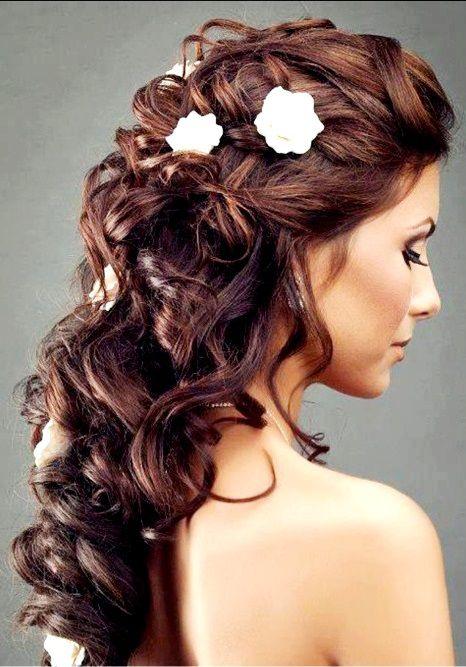 Curly Hairstyles For Long Hair For Wedding : Brides braided pull back half up bridal hair toni kami wedding