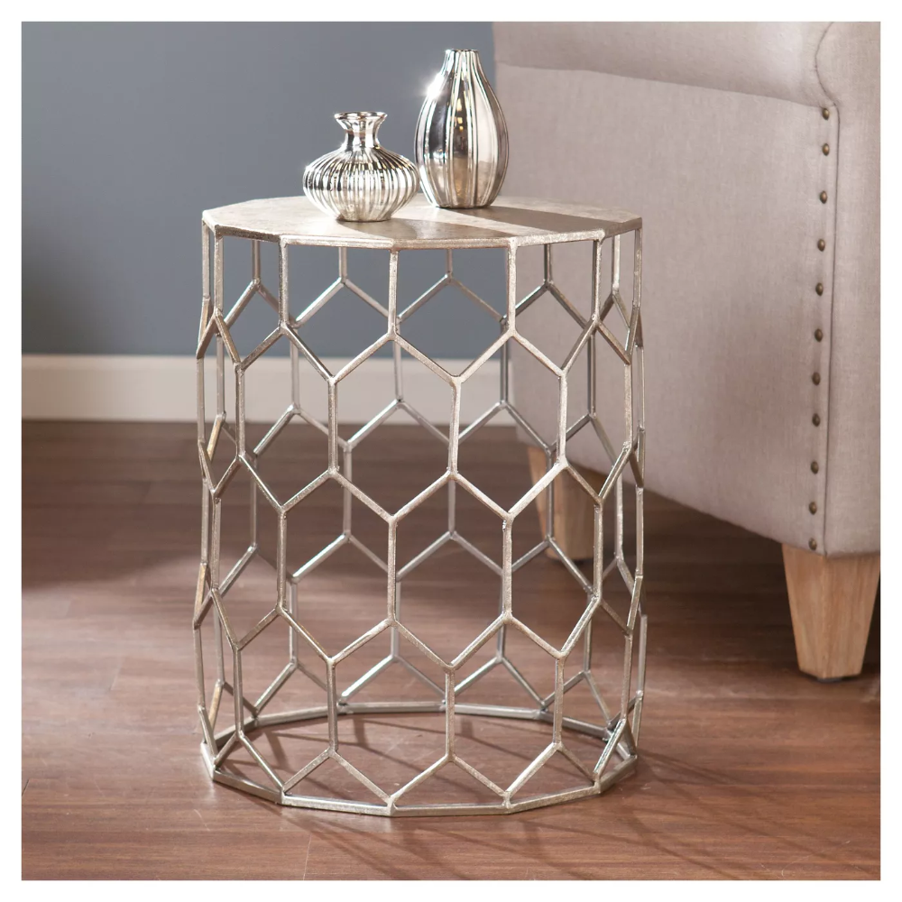 Carmen Metal Accent Table Antique Silver Aiden Lane In 2020