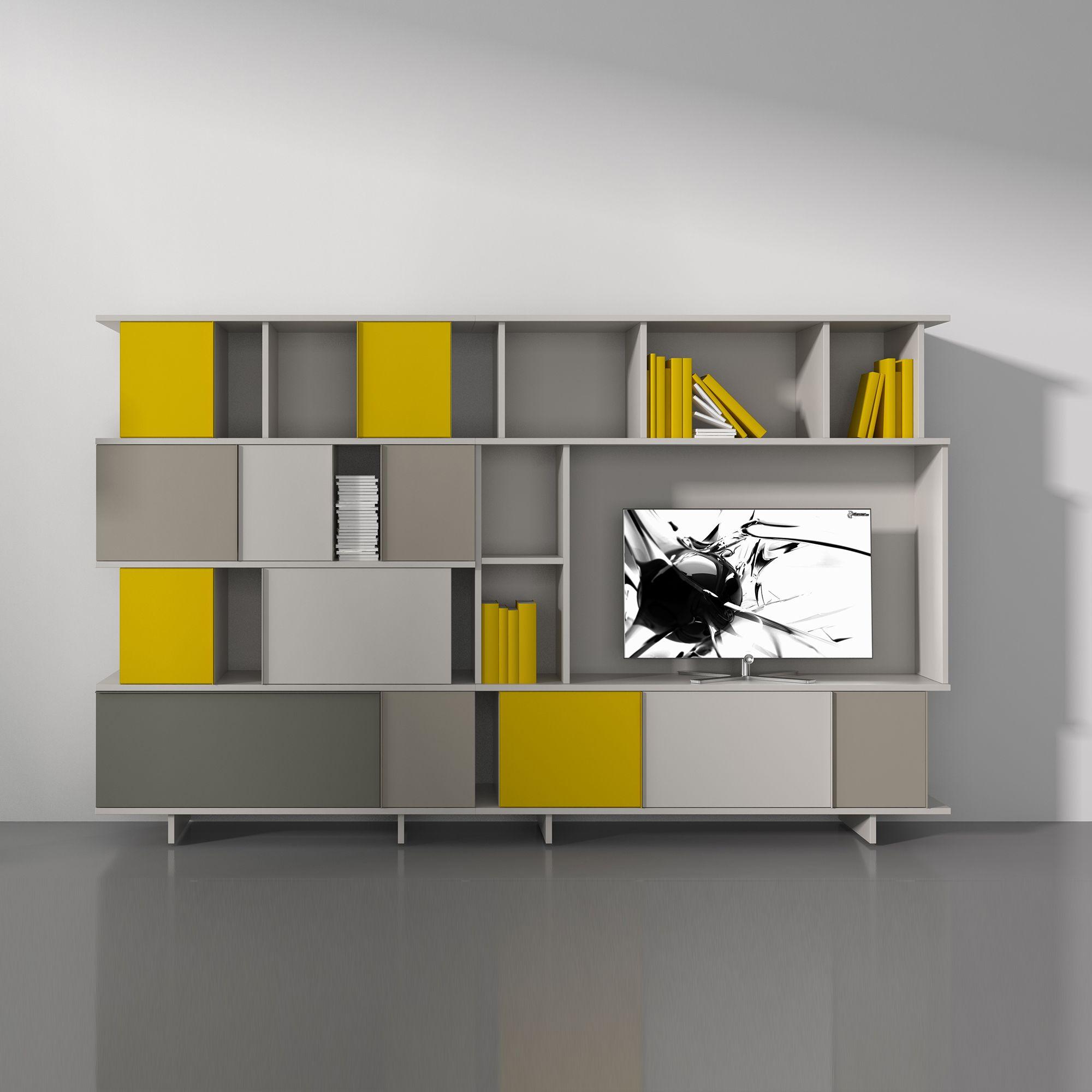 Ziggurat, Yellow, White, Grey Design. Minimalistic Square