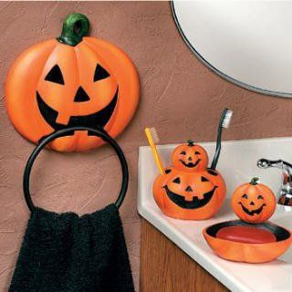 4 pc pumpkin jack o lantern halloween bathroom accessories set otc http - Halloween Bathroom Decor