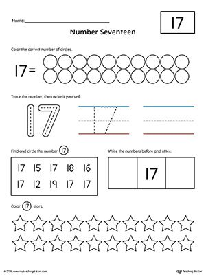 Number 17 Practice Worksheet Numbers Counting Pinterest