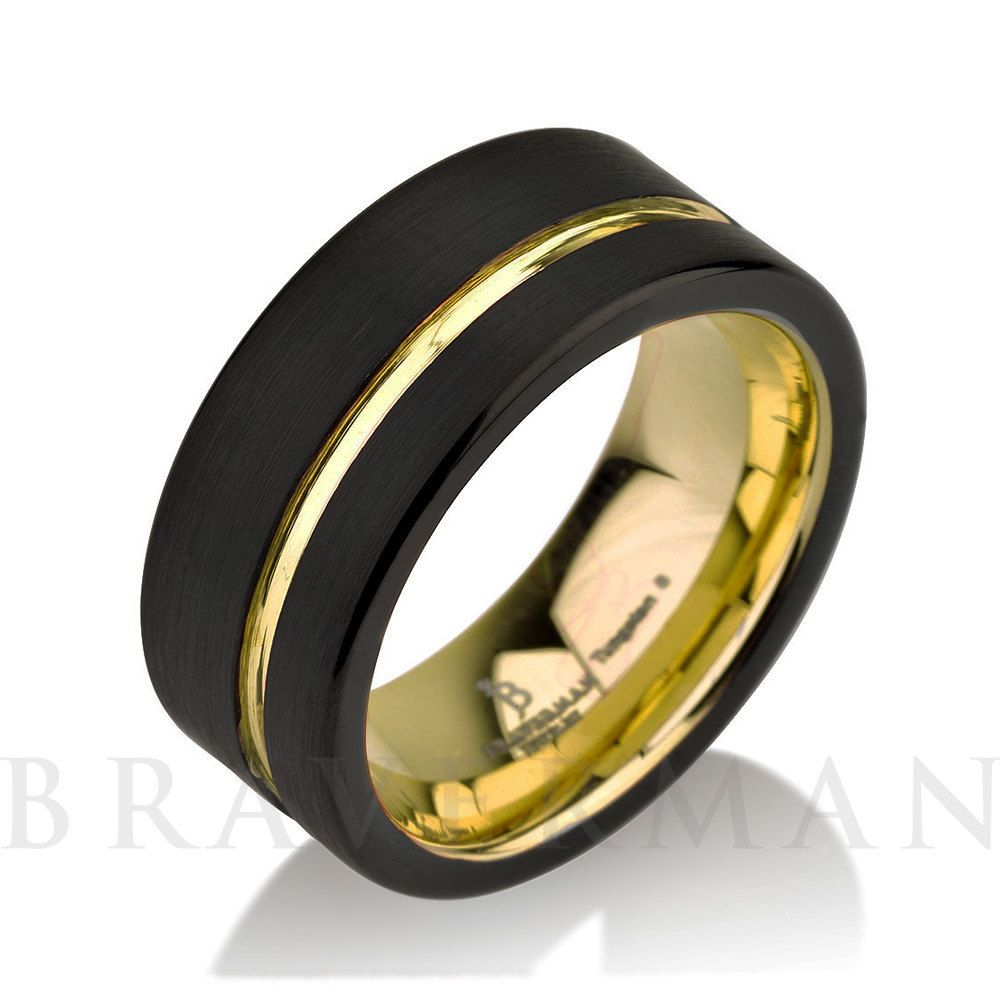 Pin On Black And Yellow Gold Tungsten Bands