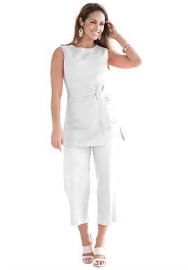 Plus Size Linen Blend Capri Set | Plus Size Suits & Sets ...