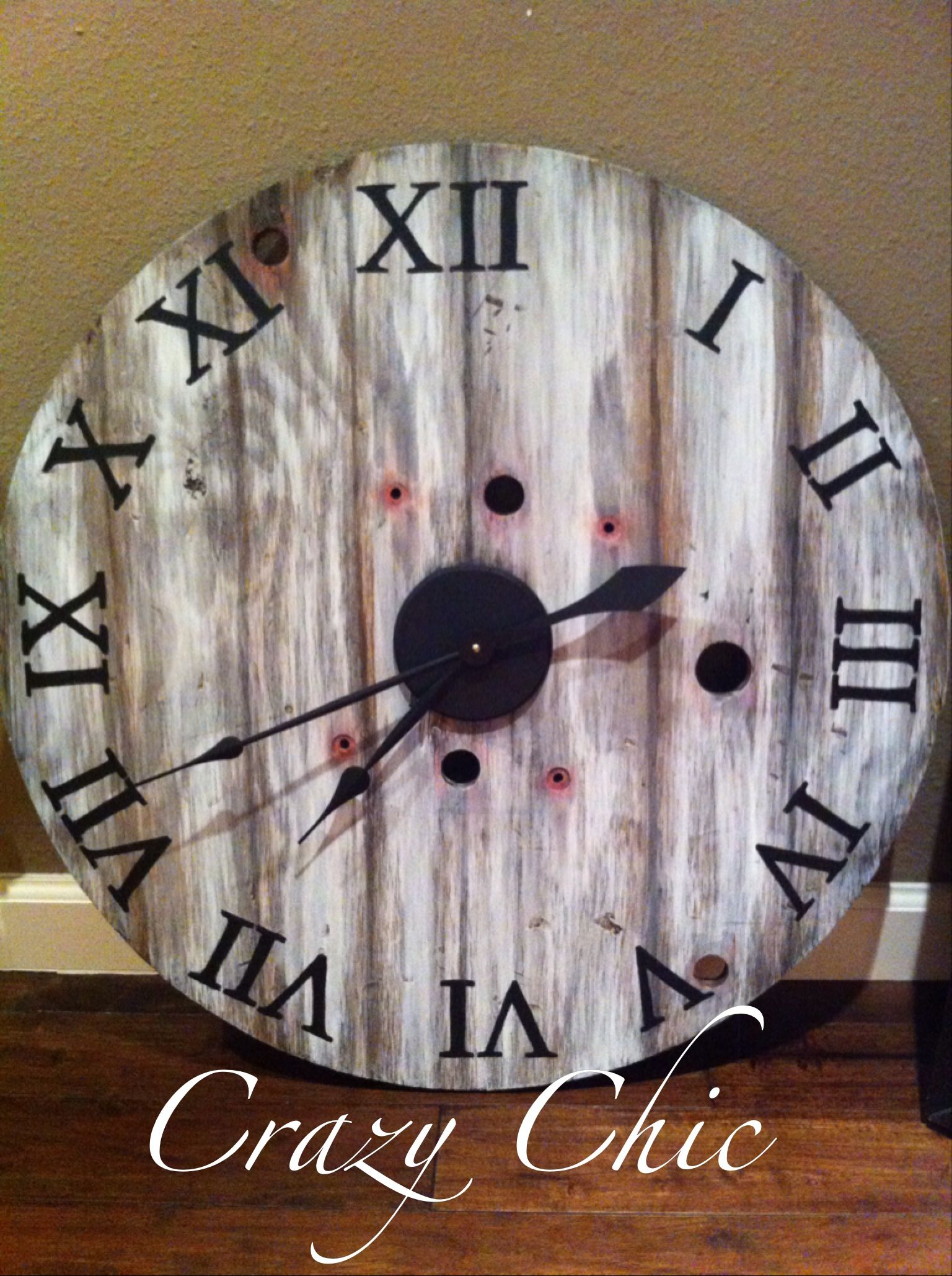 Am americana country wall clocks - Vintage Inspired Clock I Made From An Old Cable Reel