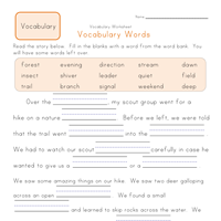 2nd grade fill in the blanks vocabulary worksheet | Vocabulary