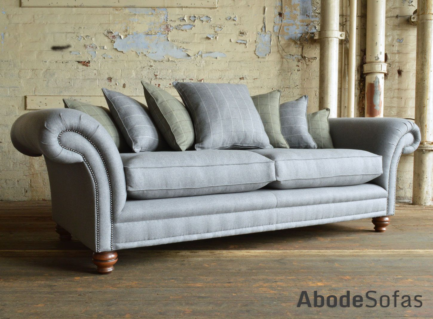 British handmade cotswold scatter back chesterfield sofa shown in british handmade cotswold scatter back chesterfield sofa shown in grey herringbone wool and olive tartan parisarafo Image collections