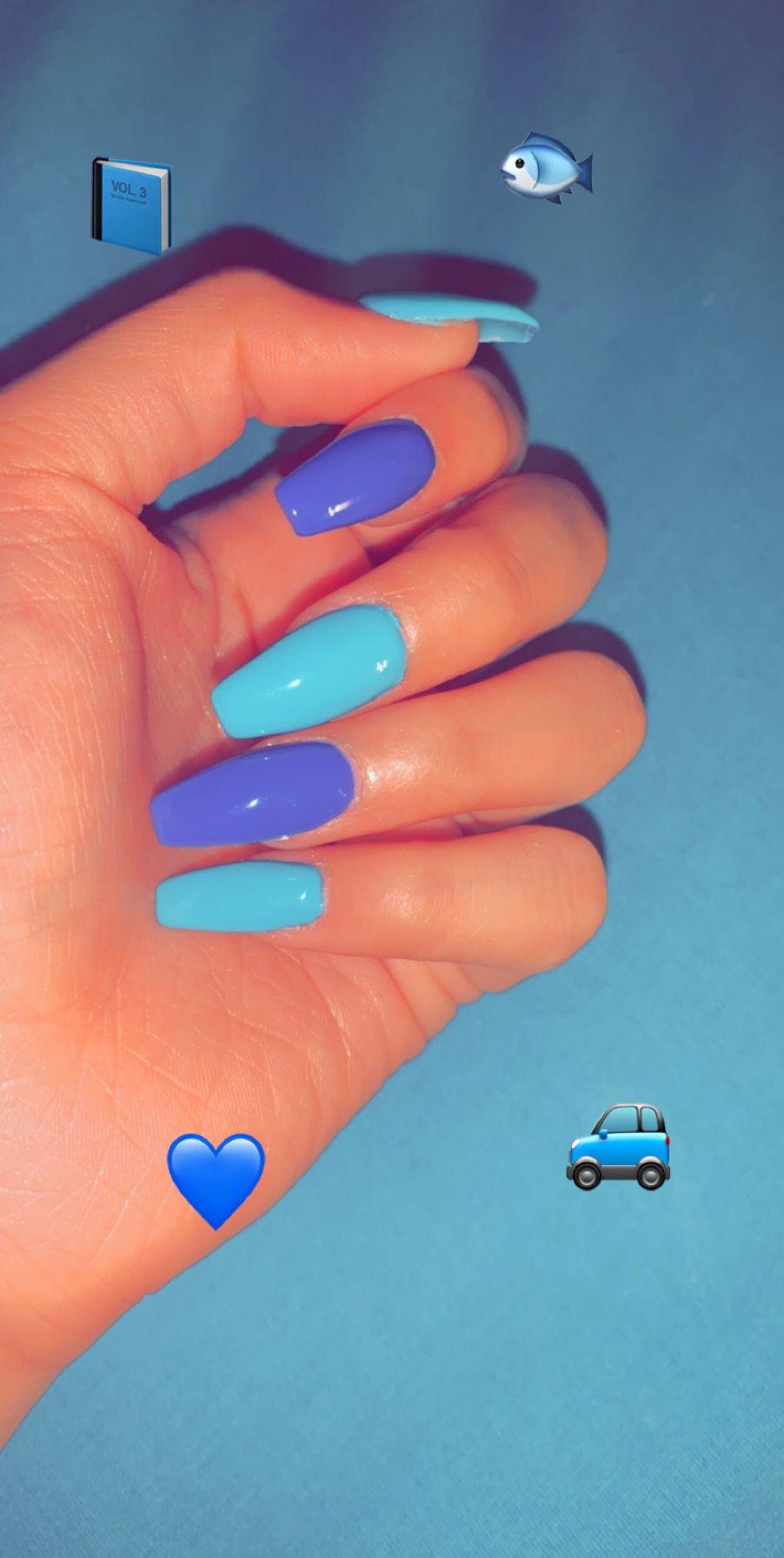 Turquoise And Purple Purple Acrylic Nails Purple Glitter Nails Blue Acrylic Nails