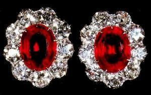 Queen Mary's Cluster Earrings - For her fifty-ninth birthday, on 26 May 1926, King George V presented Queen Mary with these earrings - large oval rubies each set in a cluster of nine brilliant-cut diamonds. Later that year, the Queen officially added them to the other pieces of ruby jewellery left to the Crown by Queen Victoria and King Edward VII. by kaye