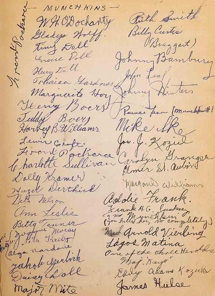 Cast and crew signed Wizard of Oz. - by Profiles in ... Oz The Great And Powerful Cast And Crew