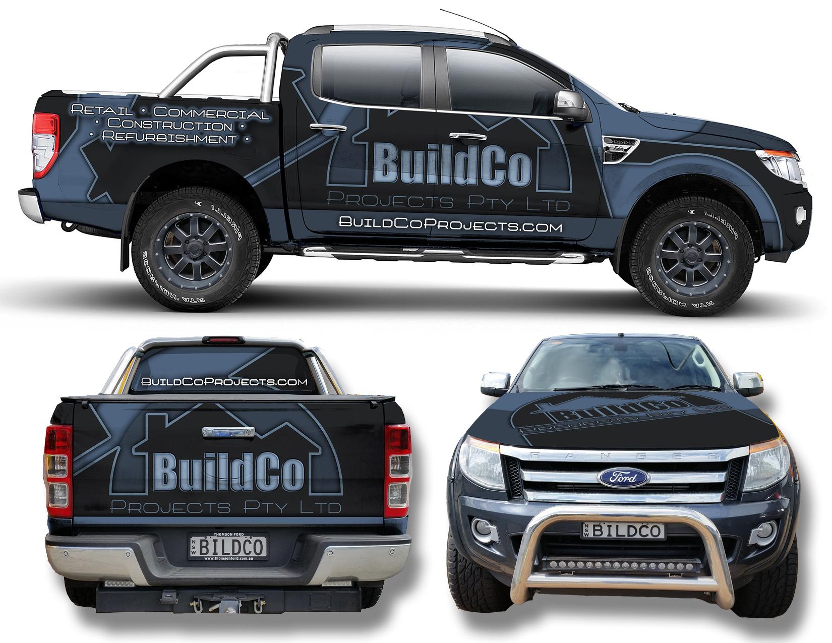 Bold car wrap for construction company construction companiesvehicle wraps signagedecalbranding