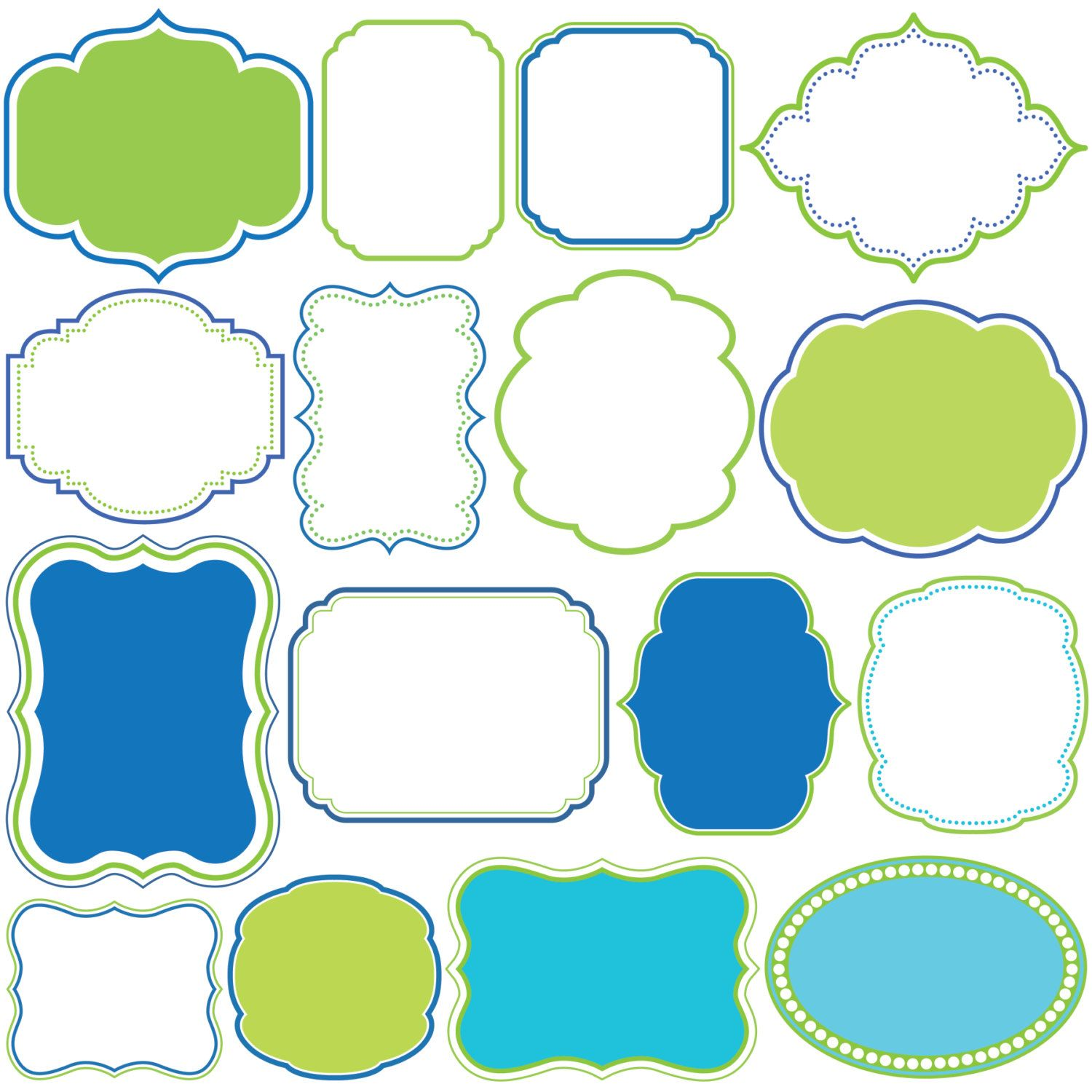 Digital Borders Frames Blue Green Clipart Clip Art Frame Commercial Personal Use Supplies School Teachers Craft