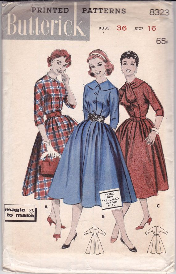 86a96d965e676 50s Full Skirt Shirtwaist Dress Pattern by allthepreciousthings Abiti Vintage  Anni  50