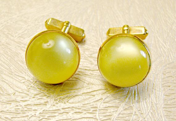 Yellow Moonglow Round Domes Groom Gold Tone Cufflinks Formal Wedding Black Tie Signed Swank Swank Cuff Links