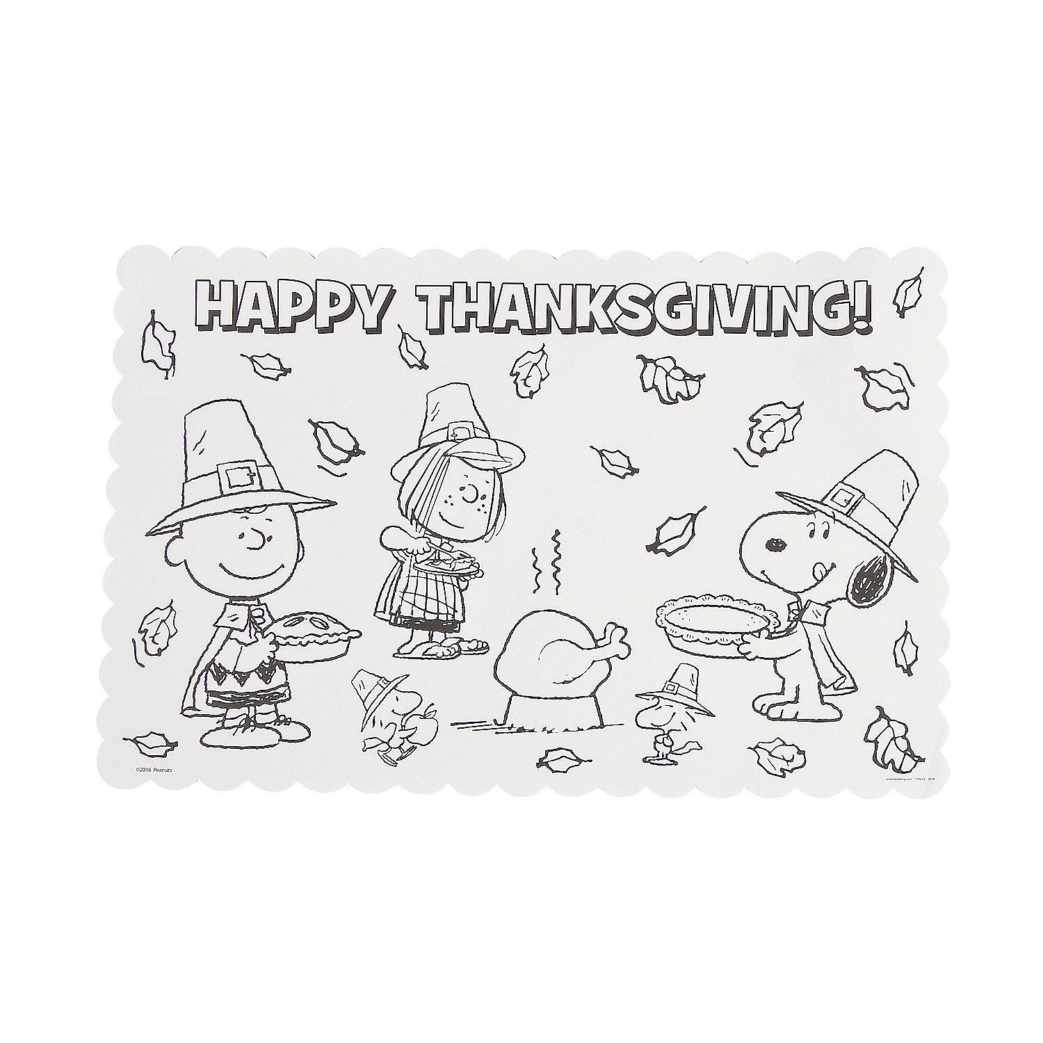 Peanuts Color Your Own Thanksgiving Placemats Thanksgiving Placemats Thanksgiving Placemats Preschool Thanksgiving Arts And Crafts
