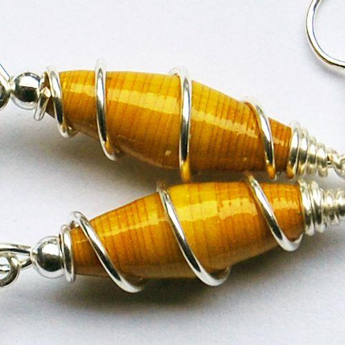 Golden yellow paper earrings by linsesuppa.deviantart.com on @deviantART