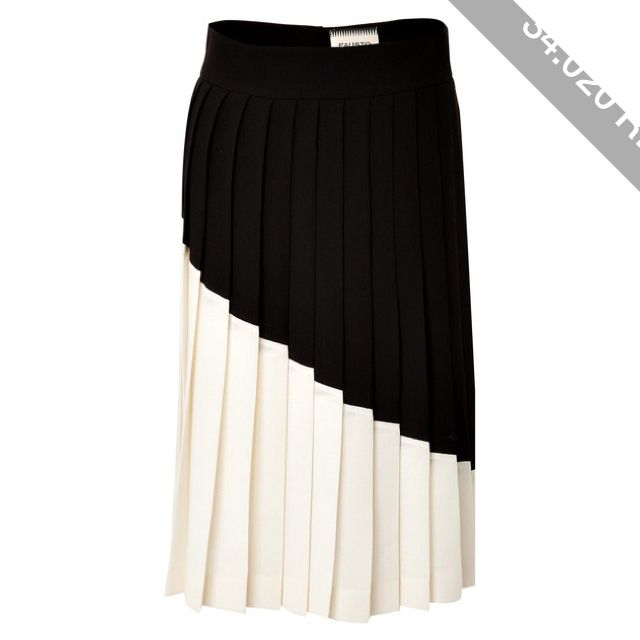 Fausto Puglisi Colorblock Pleated Wool Skirt
