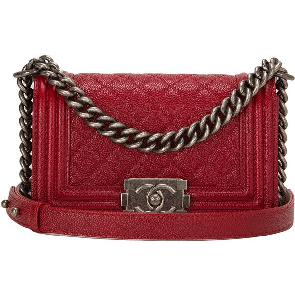 Pre-Owned Chanel Dark Red Quilted Caviar Small Boy Bag ($5,475 ...