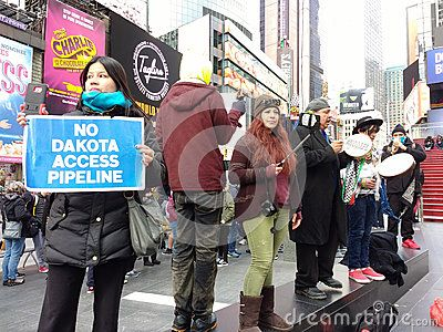 Here In Times Square A Group Of People Protest The Dakota Access