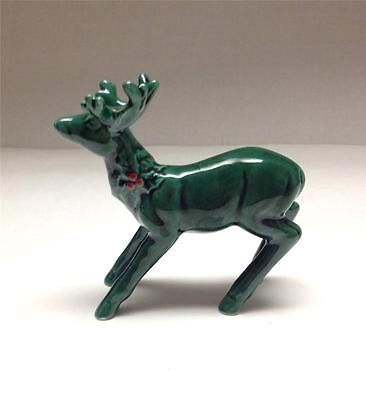 Vintage LEFTON Green Holly Red Berry Christmas Reindeer #1187