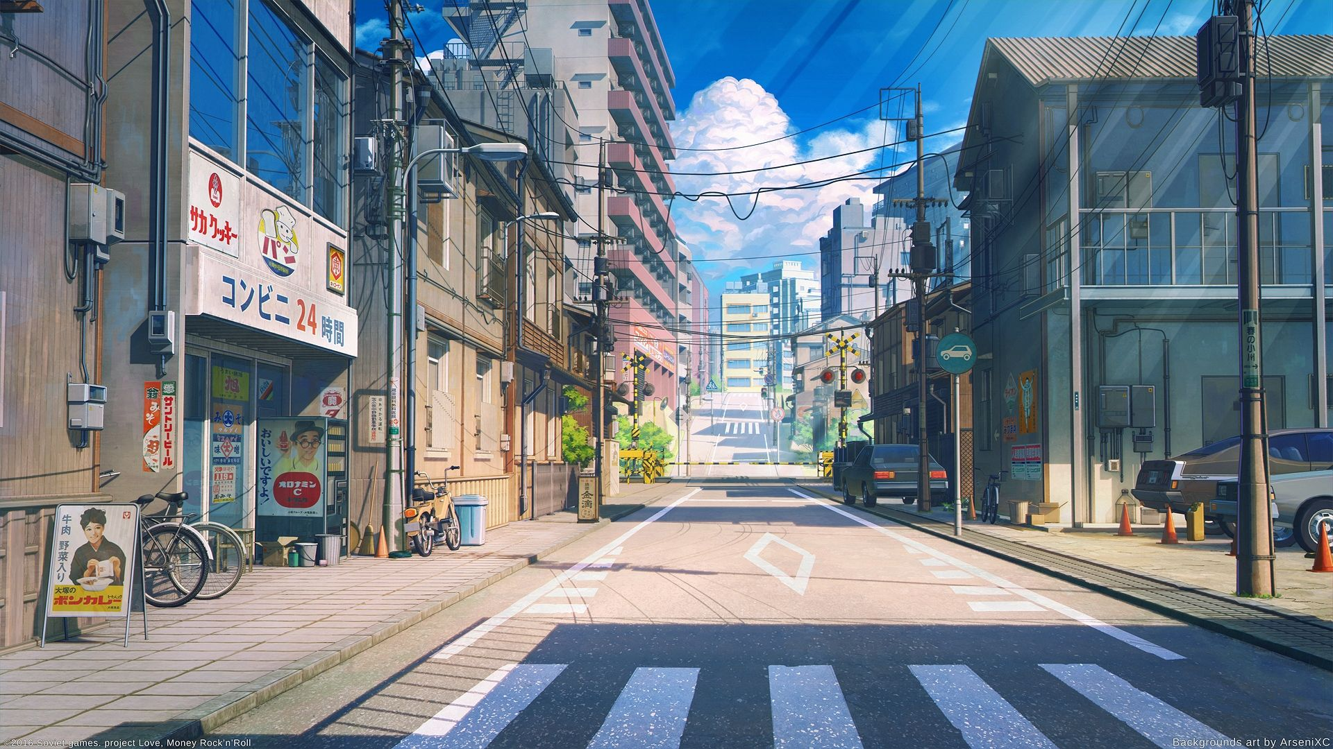 animestreetscenicbuildingsbicyclecarsroadclouds