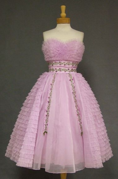 Ruffled Lavender Chiffon Vintage Prom Dress w/ Floral Embroidery ...