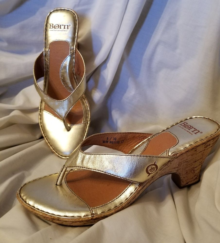 3a70f288f245 Born womens sandals size 8 gold metallic thong mid height chunky heel cork  wrap  Brn  thongpumps