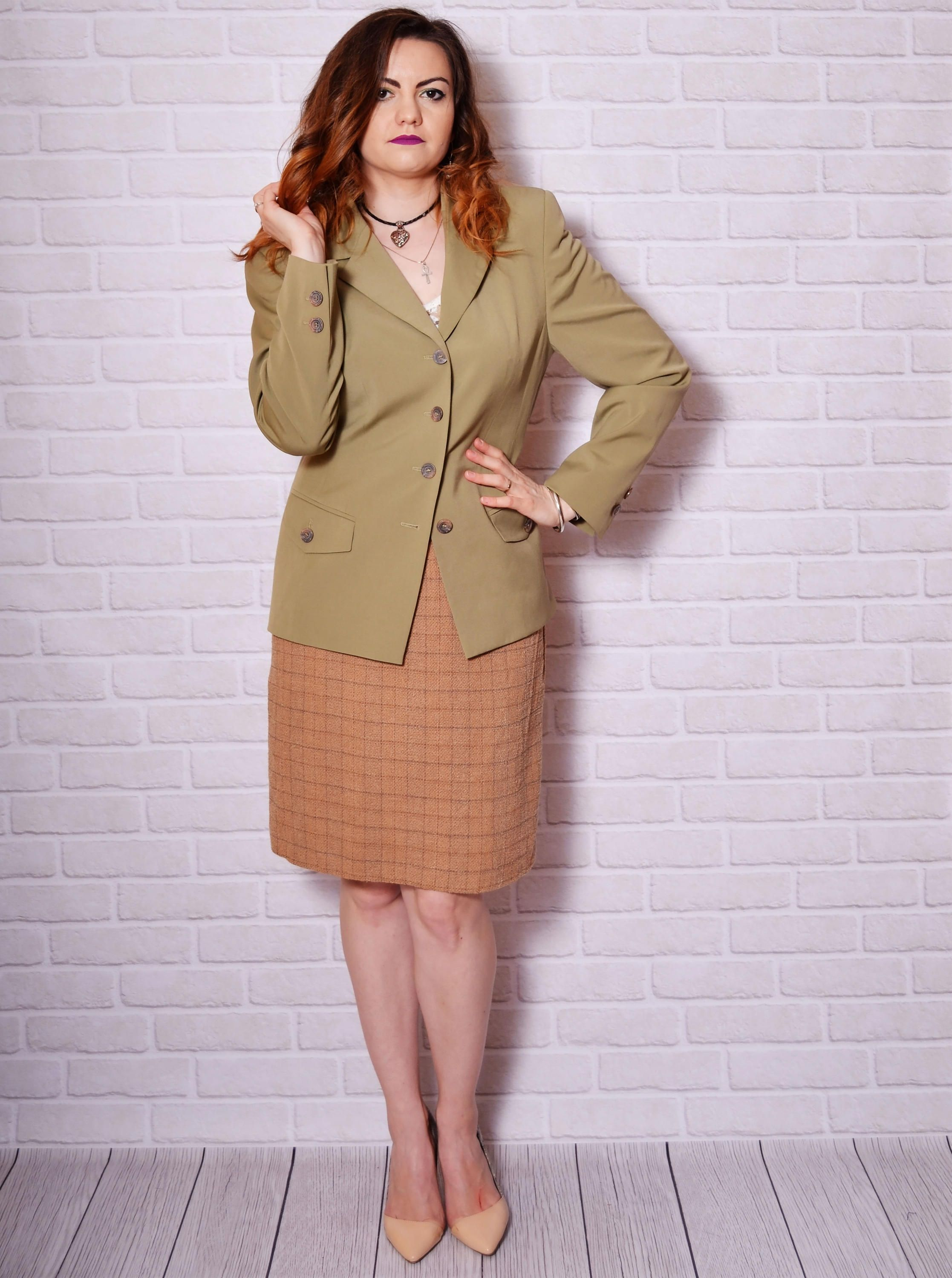 77fa789ee Vintage beautiful olive green tailored jacket. The model on the pictures is  size S/36 and 165 cm height. Please check measurements with your own to  avoid ...