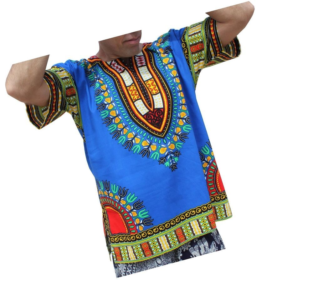 RaanPahMuang Unisex Bright Coloured African Dashiki Cotton Plus Shirt