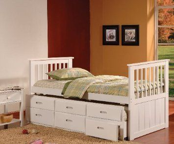 Best Amazon Com White Finish Wood Twin Size Captains Day Bed 640 x 480