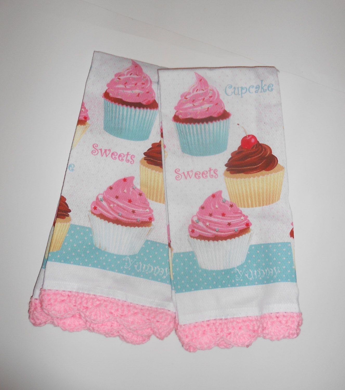 Cupcake Kitchen Towel, Pink Crochet Edging, Retro Kitchen. $6.00, Via Etsy.