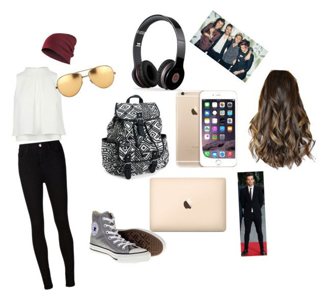 """""""First day of school outfit"""" by abbasijo on Polyvore featuring beauty, AG Adriano Goldschmied, Converse, Aéropostale, Beats by Dr. Dre and Linda Farrow"""