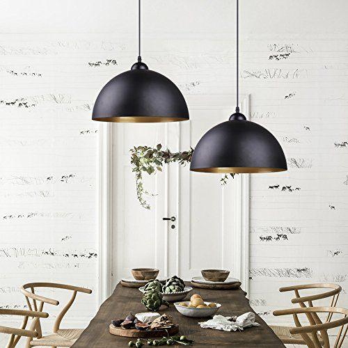 BAYTTER-Design-2x-Industrielle-Vintage-LED-Pendelleuchte-Hngeleuchte–30cm-fr-E27-Leuchtmittel-schwarz-und-wei-whlbar-fr-Wohnzimmer-Esszimmer-Restaurant-Keller-Untergeschoss-usw-schwarz