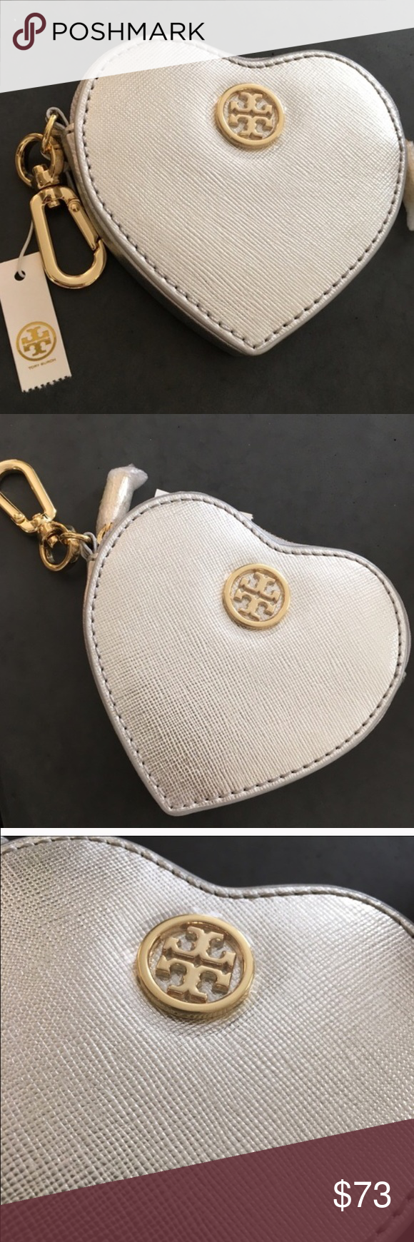 ab2dfe13b9f Tory Burch Heart Key Fob Coin Purse Saffiano leather Imported Zip closure   lined Key ring attached  logo plaque on front 4