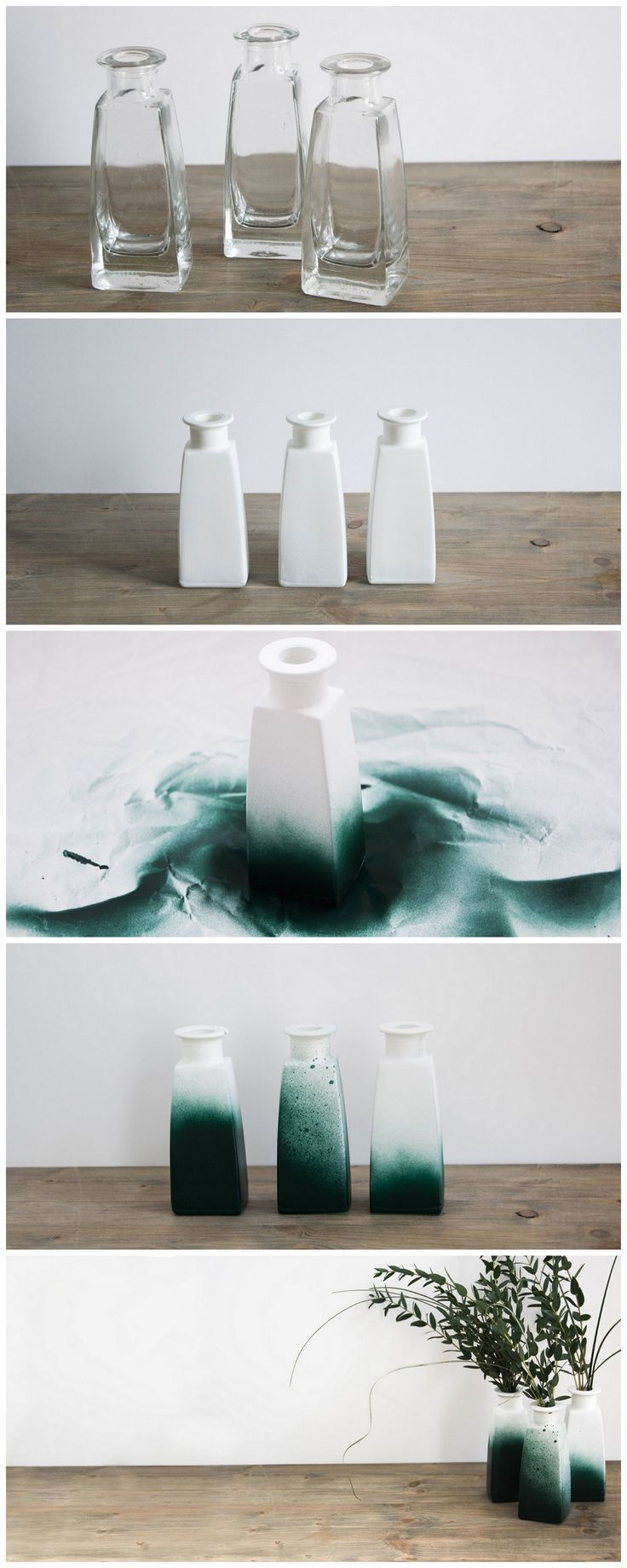 schere leim papier for Frosch Blog: vase upcycling with green colour