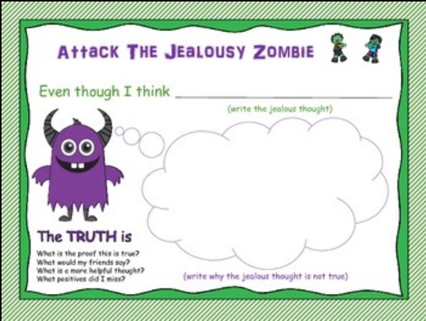 attack the jealousy zombie cbt activities and worksheets for friendship groups math social. Black Bedroom Furniture Sets. Home Design Ideas