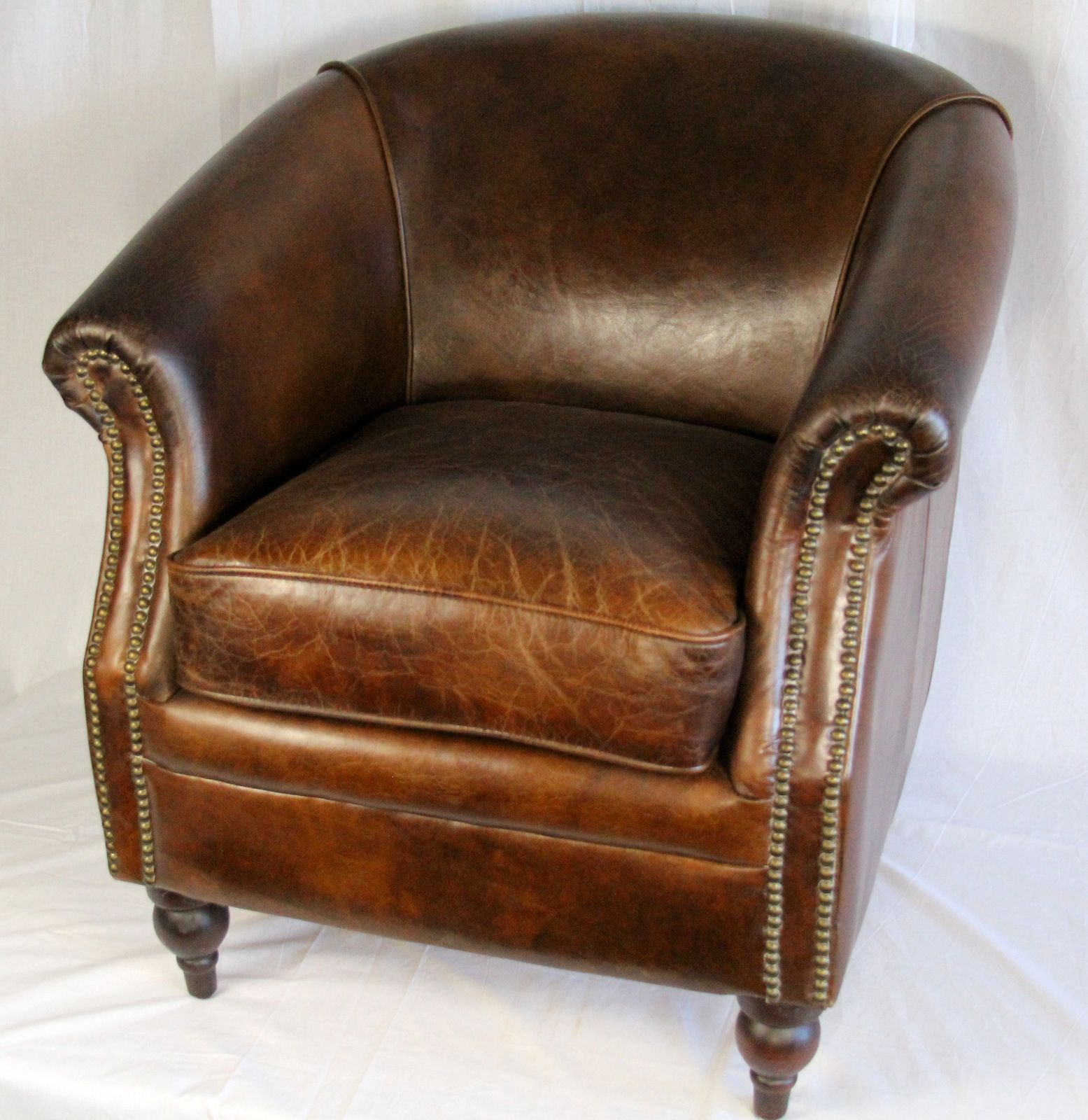 "27"" Wide club arm chair vintage brown cigar Italian leather"