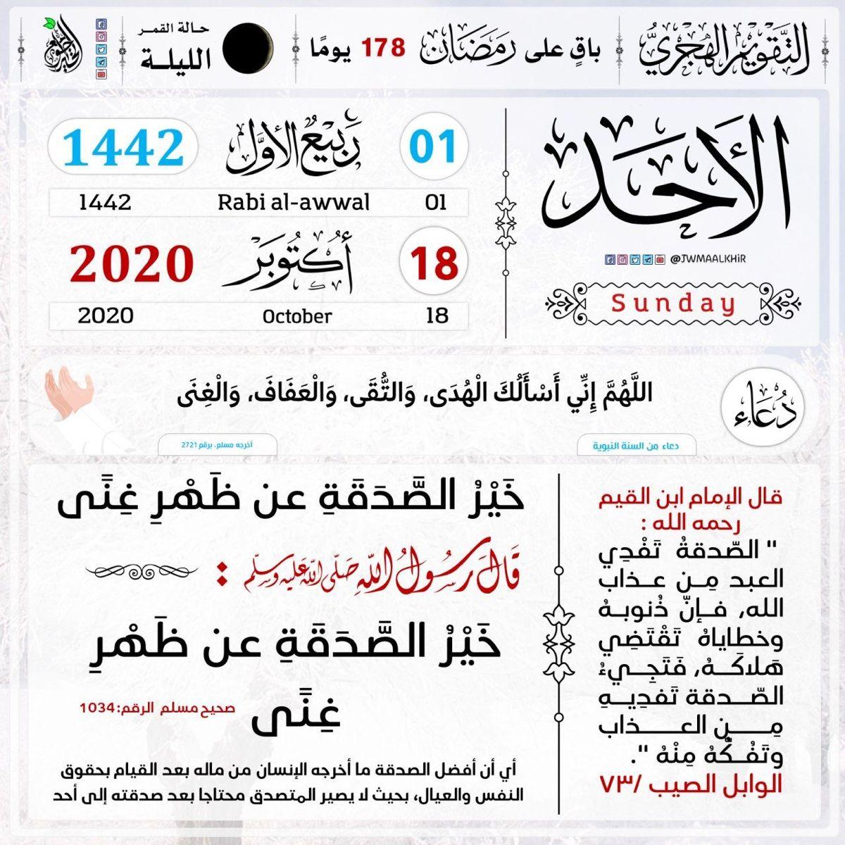 التذكير اليومي بـ التقويم الهجري الأحد 01 ربيع الأول 1442هـ الموافق لـ 18 أكتوبر2020م باق على رمضان 178 يوم ا حديث اليوم الخيرية خير الصدقة عن ظهر غنى