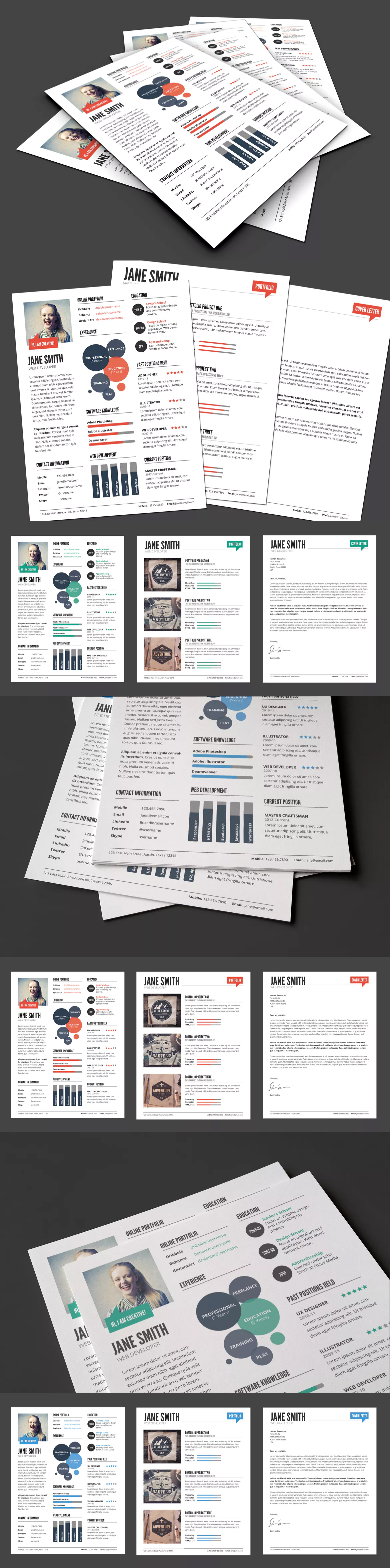 InfoGraphic Style Resume Template Ver 2 Templates PSD