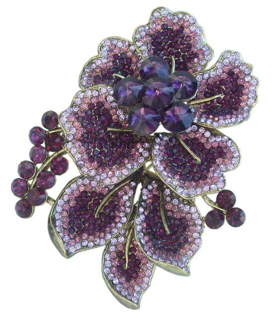 """Великолепный 3.54 """"Фиолетовый Горный Хрусталь Хрустальный Цветок Брошь Pin EE06595C3"""