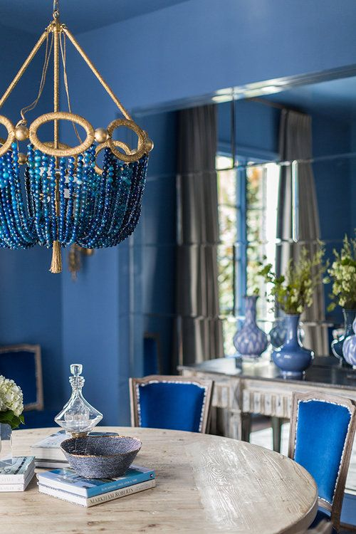 Royal Blue And Gold Dining With Images Gold Dining Room