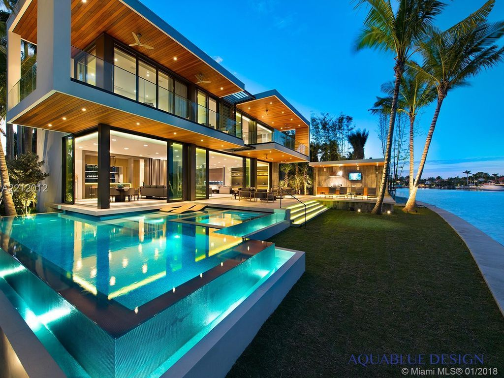 Contemporary Miami Beach Luxury Waterfront Home By The Aquablue