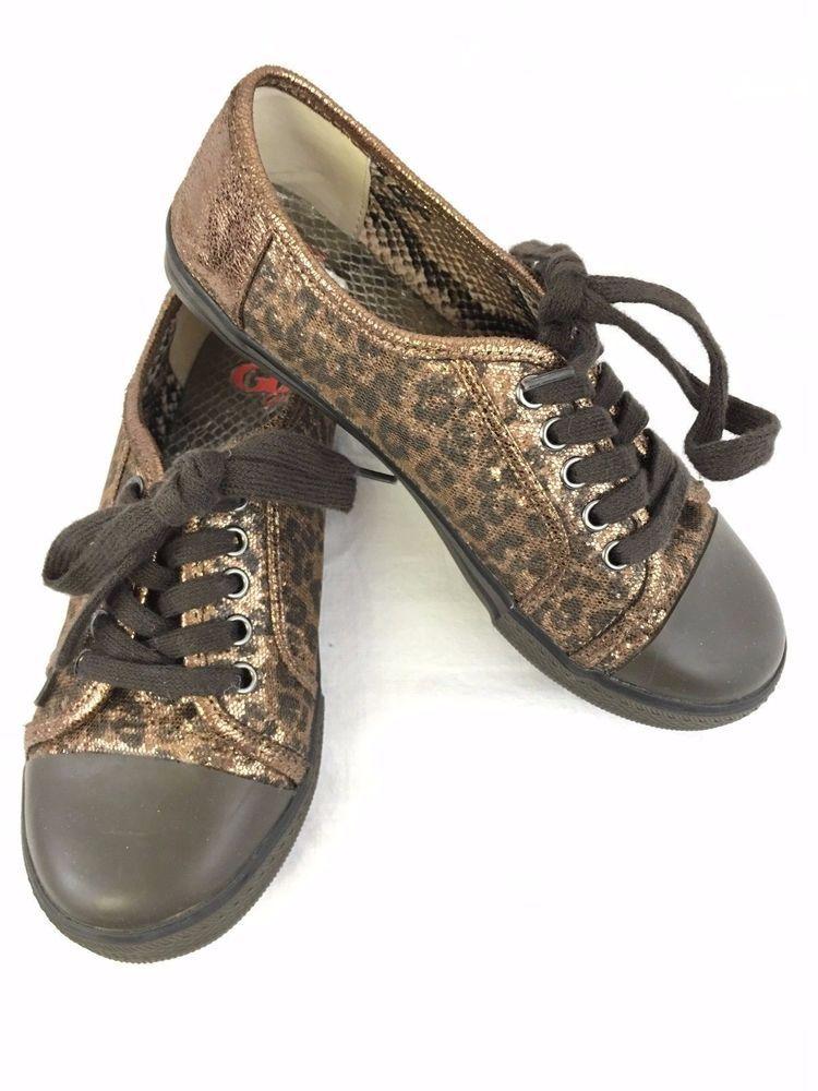 GB Girls Leopard Tennis Shoes Size 2 Sparkle Laces Glitter #GBGirls #TennisShoes