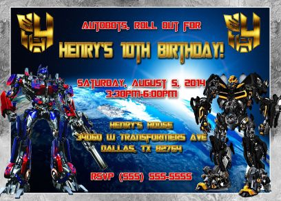 Transformers Birthday Invitation Transformer birthday
