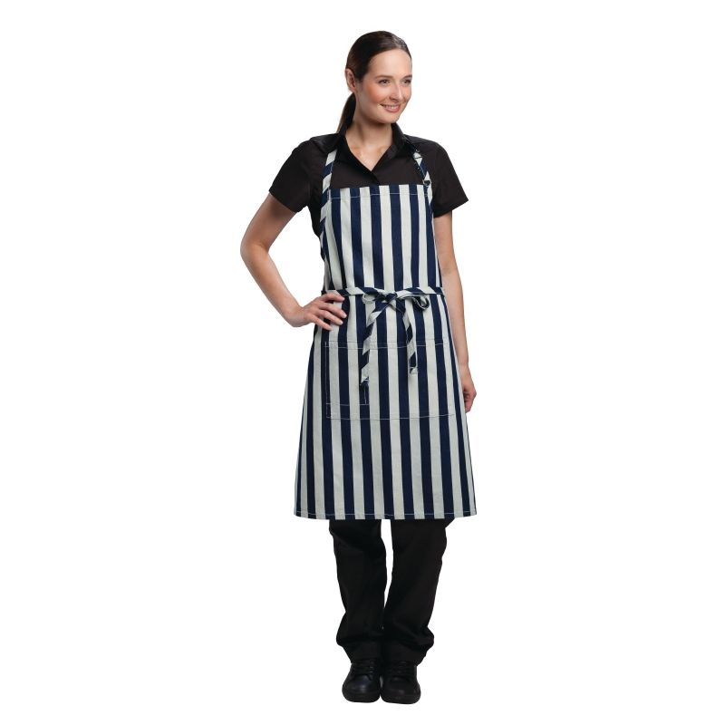 As part of the new urban collection from Chef Works, this stylish chefs apron gives you the opportunity to look good and stay comfortable. The bold stripped pinstripe material and modern details makes this a practical apron for any chef in the workplace. Also available in black.