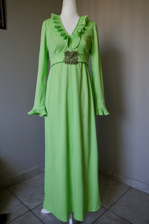 Vintage s formal long sleeve dress in green with rhinestone belt