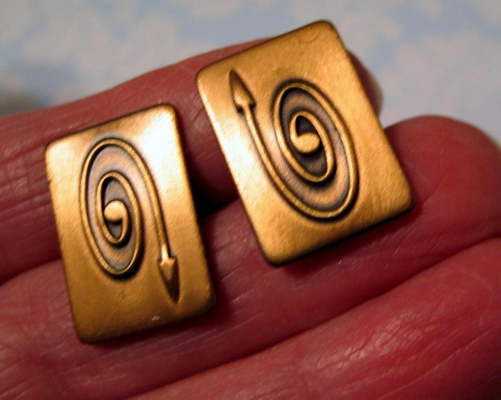 Vintage Copper Cufflinks Curved Arrow Motif Patent Pending Nashville Estate Unbranded